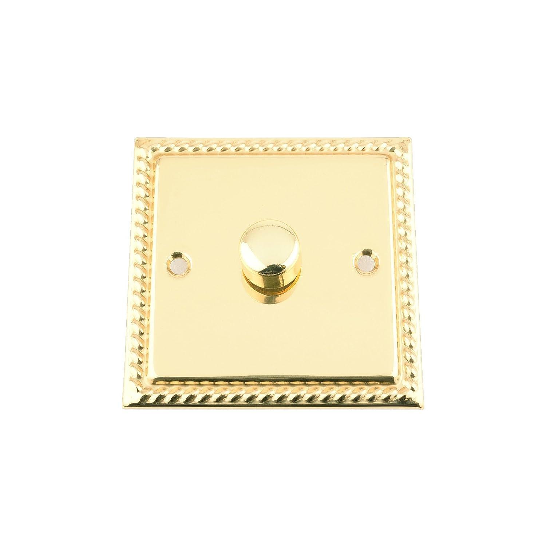 Single Light Switch 1 Gang Georgian Polished Brass White 2 Way Dimmer Push On Off 400w