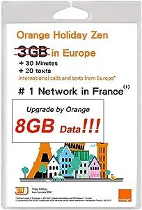 新品 Orange Holiday Europe - 3GB Internet Data in 4G/LTE (Currently 8GB 30mn + 200 Texts from 30 Countries in Europe to Any Country Worldwide (8GB)