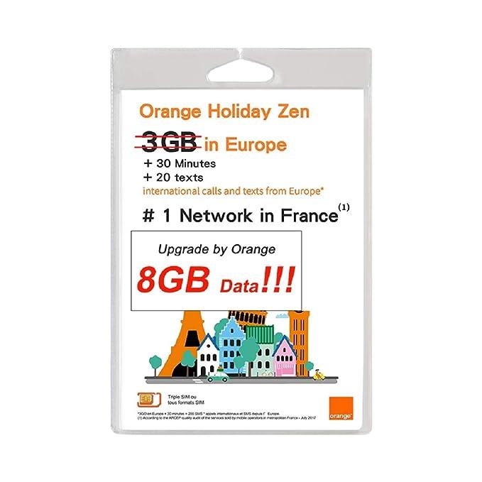 Tarjeta SIM prepagada Orange Holiday Europe de 8 GB, Datos de ...