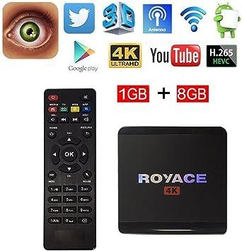 Android 6.0 TV Box, Royace R1 4 K TV Box con integrado Rockchip Quad Core 1 GB RAM/8GB rom, soporta Smart TV Box reproductor de HD juego para entretenimiento de televisión: Amazon.es: