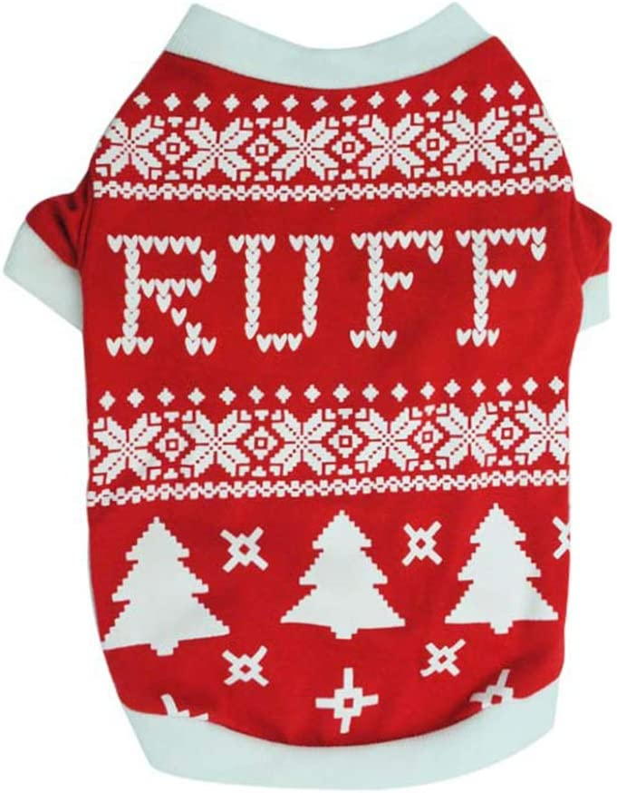 fuchsiaan Christmas Costume Pets Dog Cat Puppy Christmas Tree Bone Printed Clothes Vest Apparel T-shirt Costume Cute Clothes Pet t for Small Medium Large Doggy Kitten Black XS