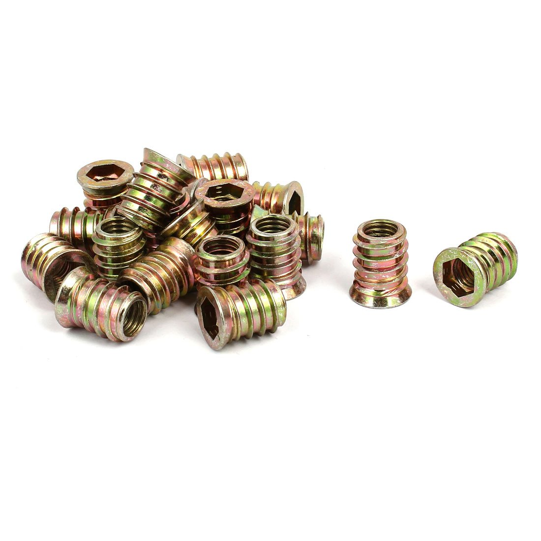 uxcell Wood Furniture M10x20mm Insert Interface Hex Socket E-Nut Bronze Tone 20pcs by uxcell
