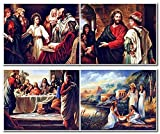 Jesus Christian Catholic Holy Bible Religious and Spiritual Four Set 8x10 Picture Wall Decor Art Print Posters
