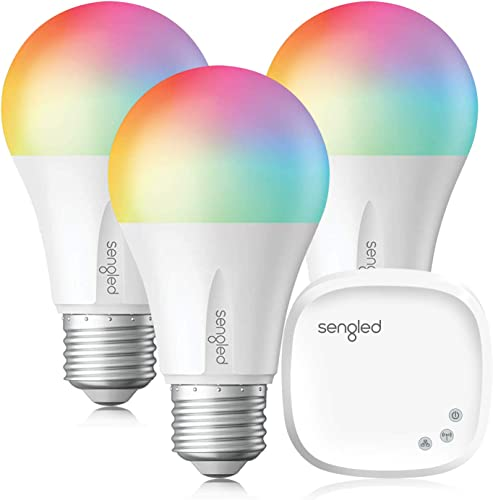 Sengled Smart Light Bulb, LED Light Bulb That Works with Alexa, Google Home, Siri, Color Changing Bulb, A19 E26 Alexa Light Bulbs, Dimmable Multicolor 60W Equivalent, 800LM, Hub Required, 3Pack 1 Hub