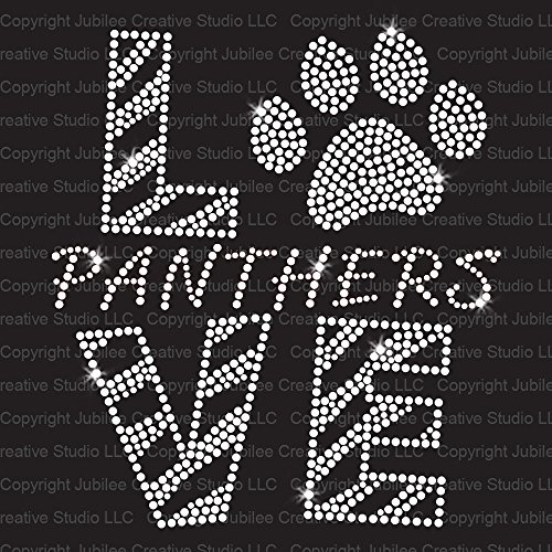 Love Panthers Clear Iron On Rhinestone Crystal T-Shirt Transfer by Jubilee (Panther Rhinestone)