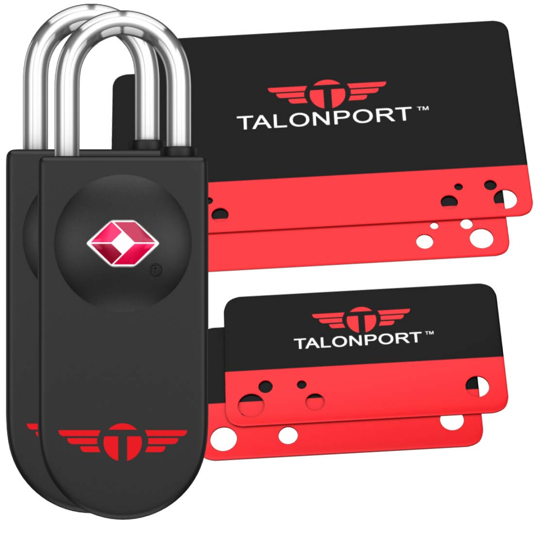 Keyless TSA Approved Luggage Lock with Lifetime Card Keys & No Combo to Forget (2 Pack) by Talonport