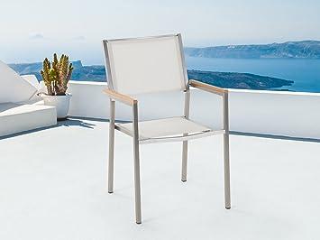 Beliani Chaise de Jardin - Acier INOX et Textile Blanc - Grosseto ...