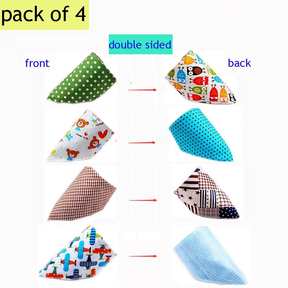 4Pcs Baby Girls Boys Kids Triangle Head Scarf Bandana Bibs Saliva Towel Dribble