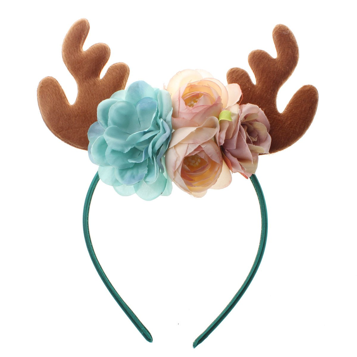 Ubbetter Girls Reindeer Antlers Ears Flower Headband Birthday Party Headbands