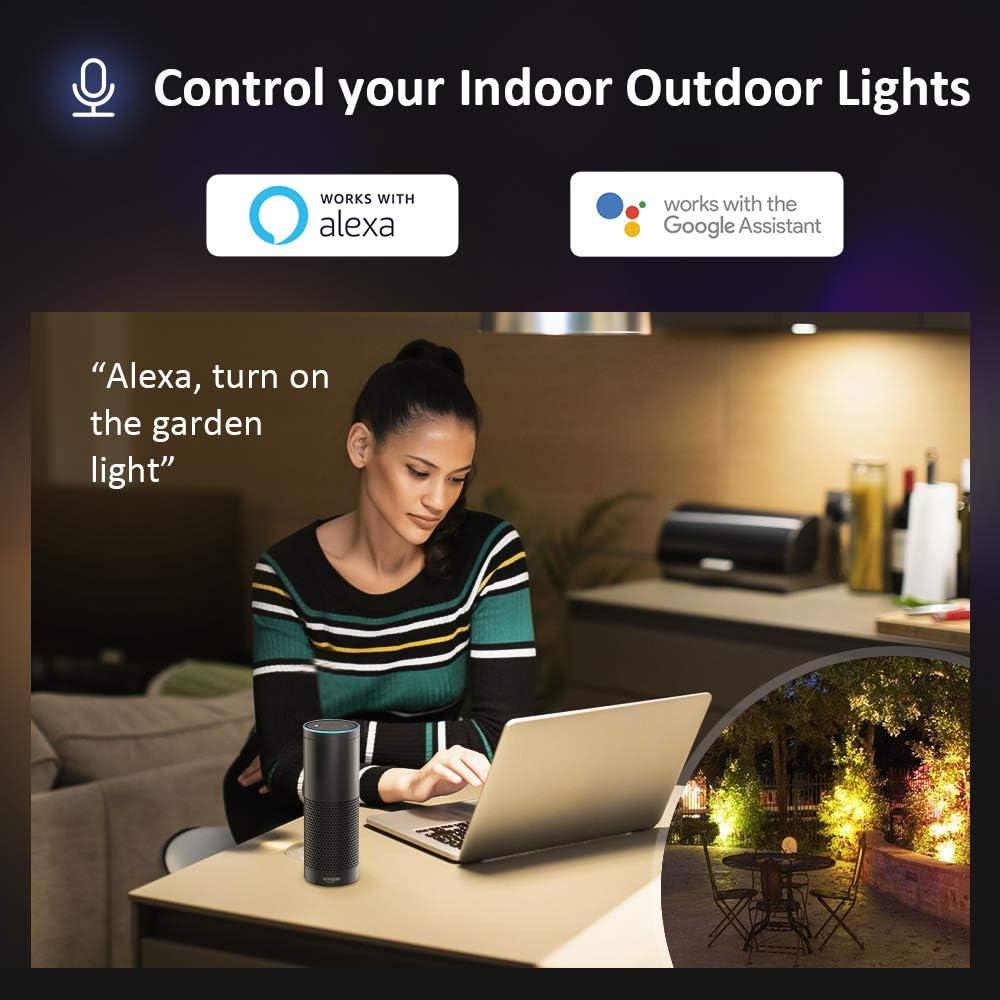 1000LM Smart LED RGBW Blanca Luz 5000K 100W WiFi Foco LED Inteligente Funciona con Alexa//Google Control de Voz Iluminaci/ón Modos//Intensidad Ajustable Impermeable IP66 para Navidad
