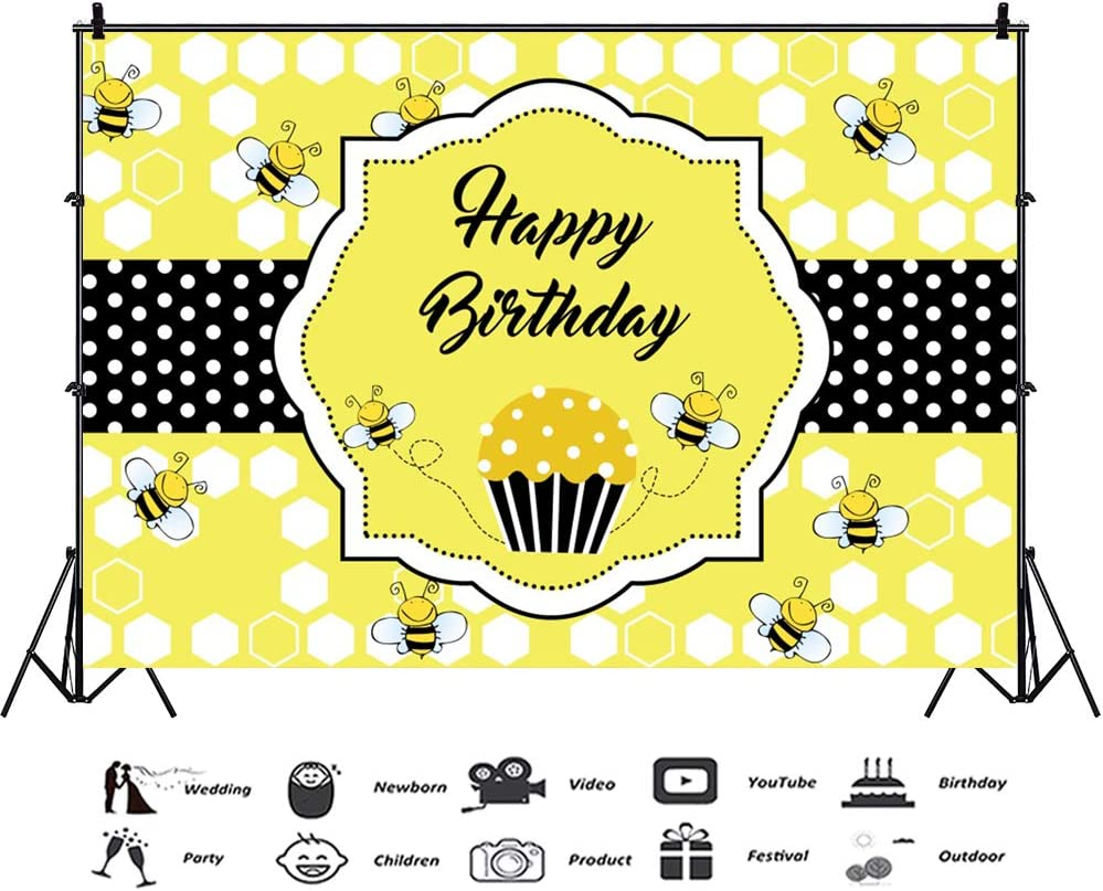 10x8ft Happy 2nd Bee Day Vinyl Photography Background Cartoon Cute Bee Honeycomb Illustration Backdrop Child Baby Birthday Party Banner Baby Shower Cake Smash Kids Room Wallpaper
