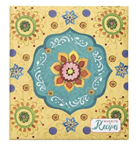 """C.R. Gibson Recipe Book, Durable 3-Ring Binder, Holds 40 Recipe Cards Measuring 4"""" x 6"""", Book Measures 9"""" x 9.5"""" − Tunisian Sunset"""