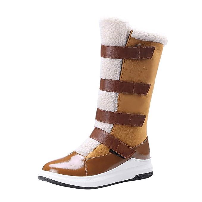 SamMoSon Botas Mujer Invierno Altas Negras Tacon Marrones,Zapatos De Punta Redonda para Mujer,