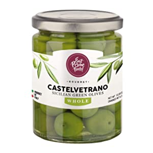 WHOLE Sicilian Green Olives From Castelvetrano | Perfect Olives For Cheese Boards | Low Salt Content | Imported From Italy | Green Sicilian Olive | Natural Olive | Green Olive