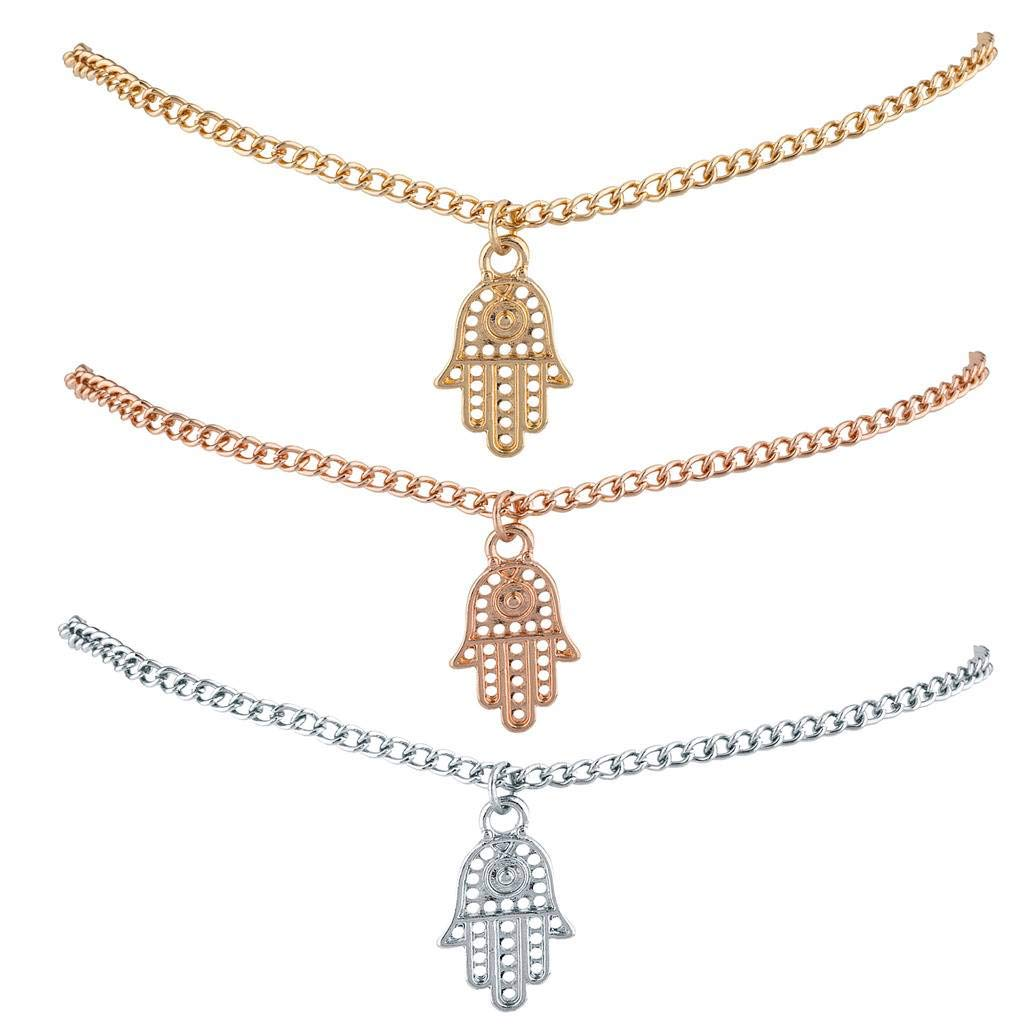 Lux Accessories Silver Gold Rose Gold Tones Hamsa Evil Eye Anklet Trio Pack A275285-1-A25