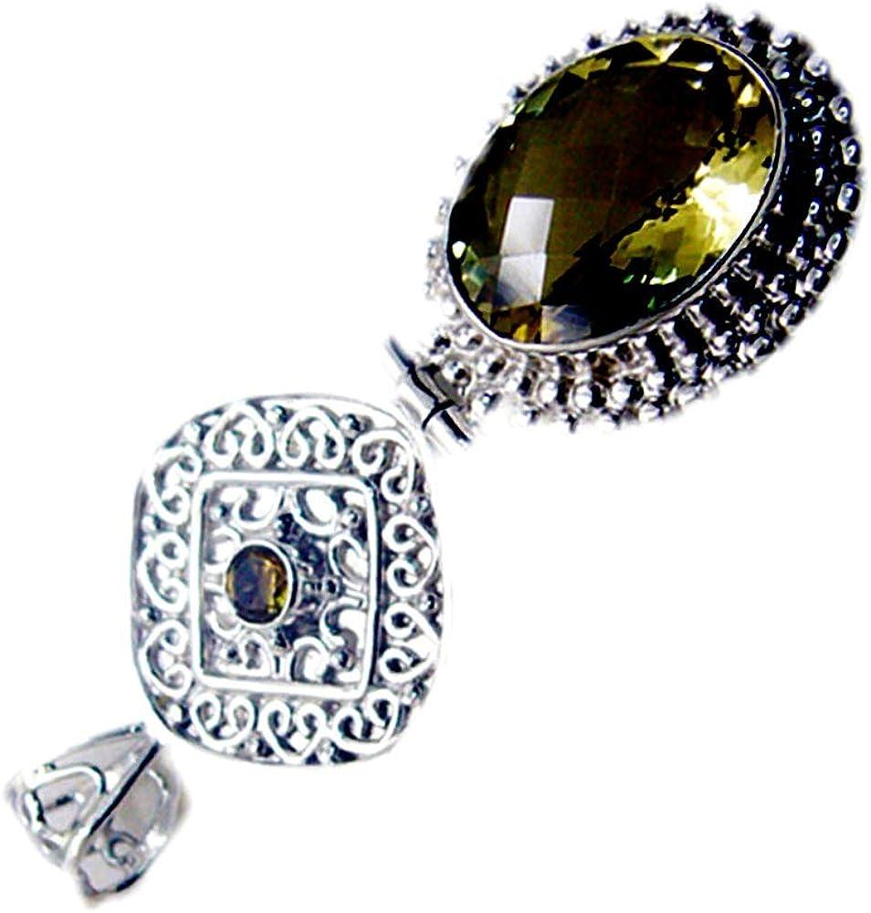 55Carat Natural Lemon Quartz Penadnt Sterling Silver Charm Handmade Vintage Style Oval Shape for Women Necklace