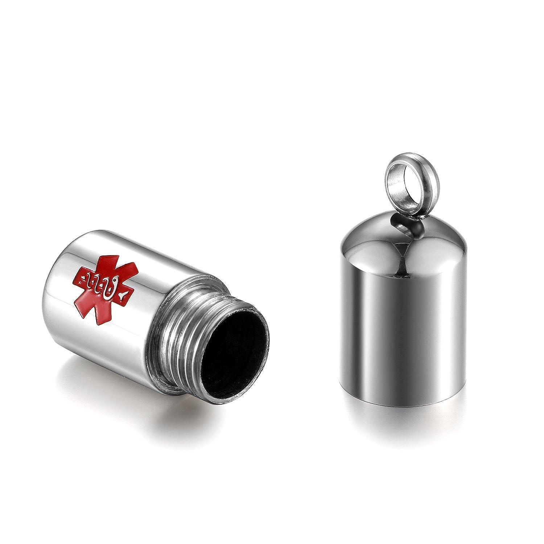 Oidea Collana Uomo Collana acciaio inox pendente pillola capsula Medical Alert ID medico argento
