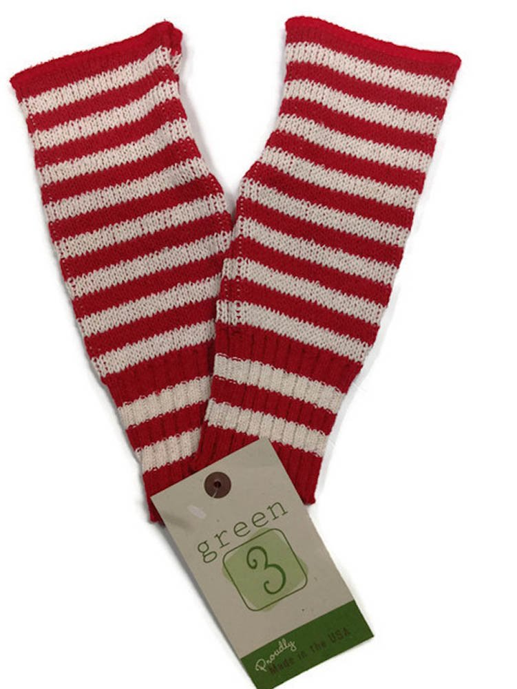 Green 3 Women's Hand-warmers - Red Striped