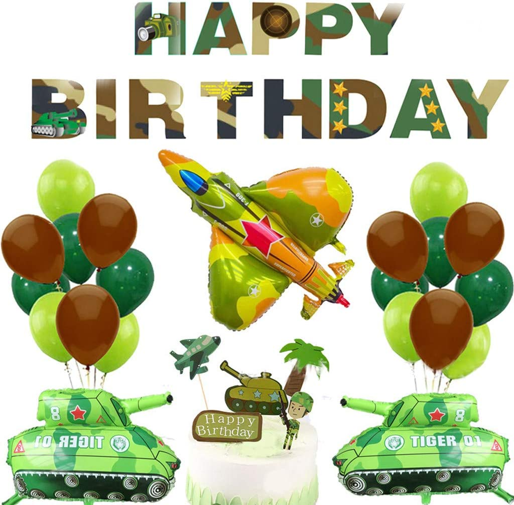 Camouflage Party Balloons, Kicpot Camouflage Party Supplies Birthday Balloon Bouquet Decorations for Army Military Hunting Themed Party Camouflage Birthday Party Decorations