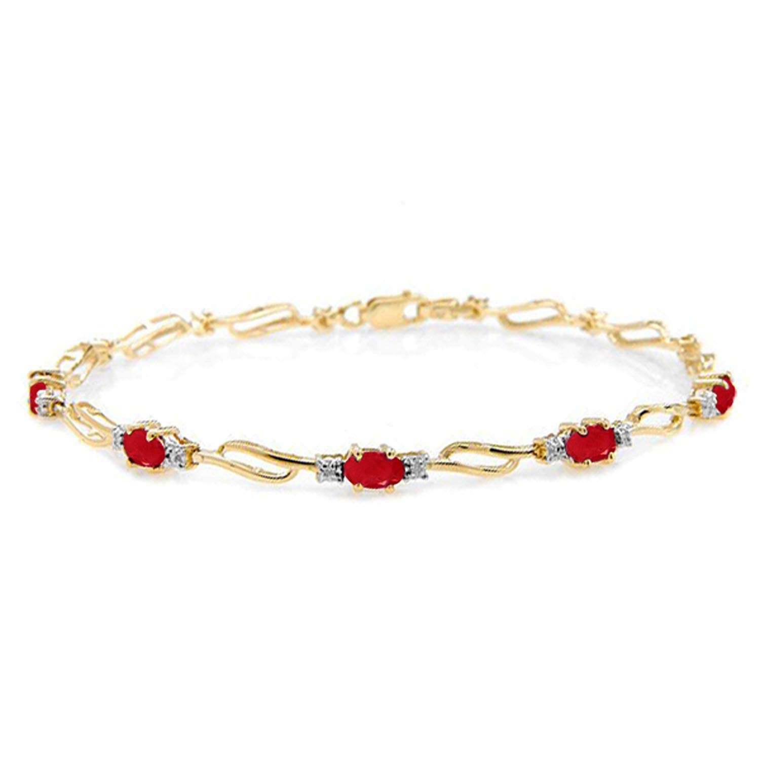 Galaxy Gold 14K Solid Yellow Gold Tennis Bracelet with Natural 4.21 Carat Ruby and Diamond - Size 8.0