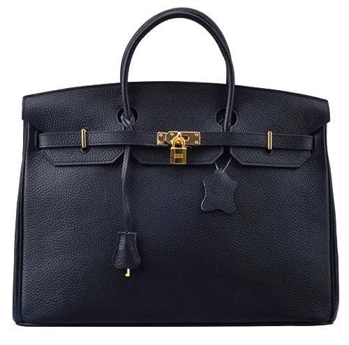 e56a71f9bc1d Bequeen Womens New Designer Litchi Pattern Full Grain Leather Handbags  Office Handbags (Small (30cm