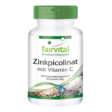 Picolinato de zinc con Vitamina C - Bote para 3 meses - Alta dosificación - 90