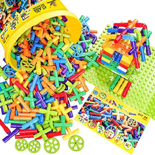 WishaLife Toy Pipe, Tube Locks Set 250 Pcs Tubular Spout Construction Building Blocks Set Educational Building Toy with Wheels and Parts with Storage Box for Kids, Boys and Girls