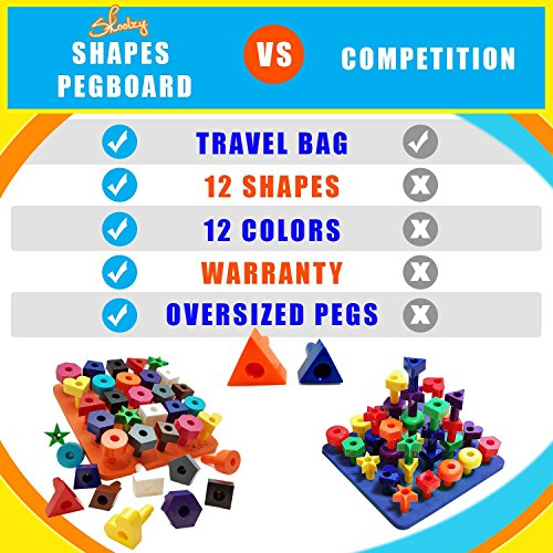 Skoolzy Peg Board Toddler Toys - STEM Shapes Puzzle Color Matching Learning Games - 38pc Montessori Manipulatives Stacking Educational Toys for 1, 2, 3, 4 Year Old Boys and Girlswith Ebook, Tote