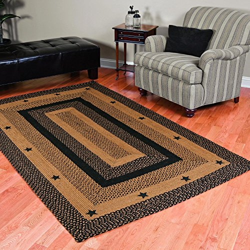 IHF Home Decor Braided Area Rug Rectangle 20 Inch x 30 Inch Star Design Jute Fabric Material,Black, Tan