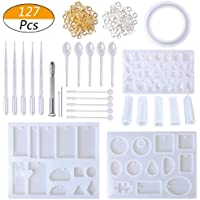 Resin Casting Molds and Tools Set, Include 127Pcs Assorted Styles Silicone Molds, Stirrers, Droppers, Spoons, Hand Twist Drill and Screw Eye Pins for Pendant Jewelry Making