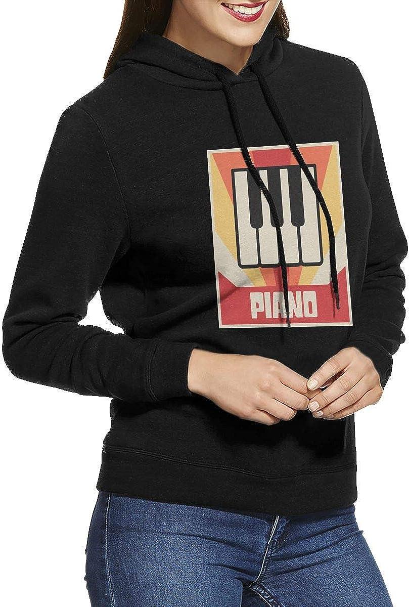Vintage Piano Keys Pullover Hoodie Ladies Long Sleeve Tops Hooded Sweatshirts