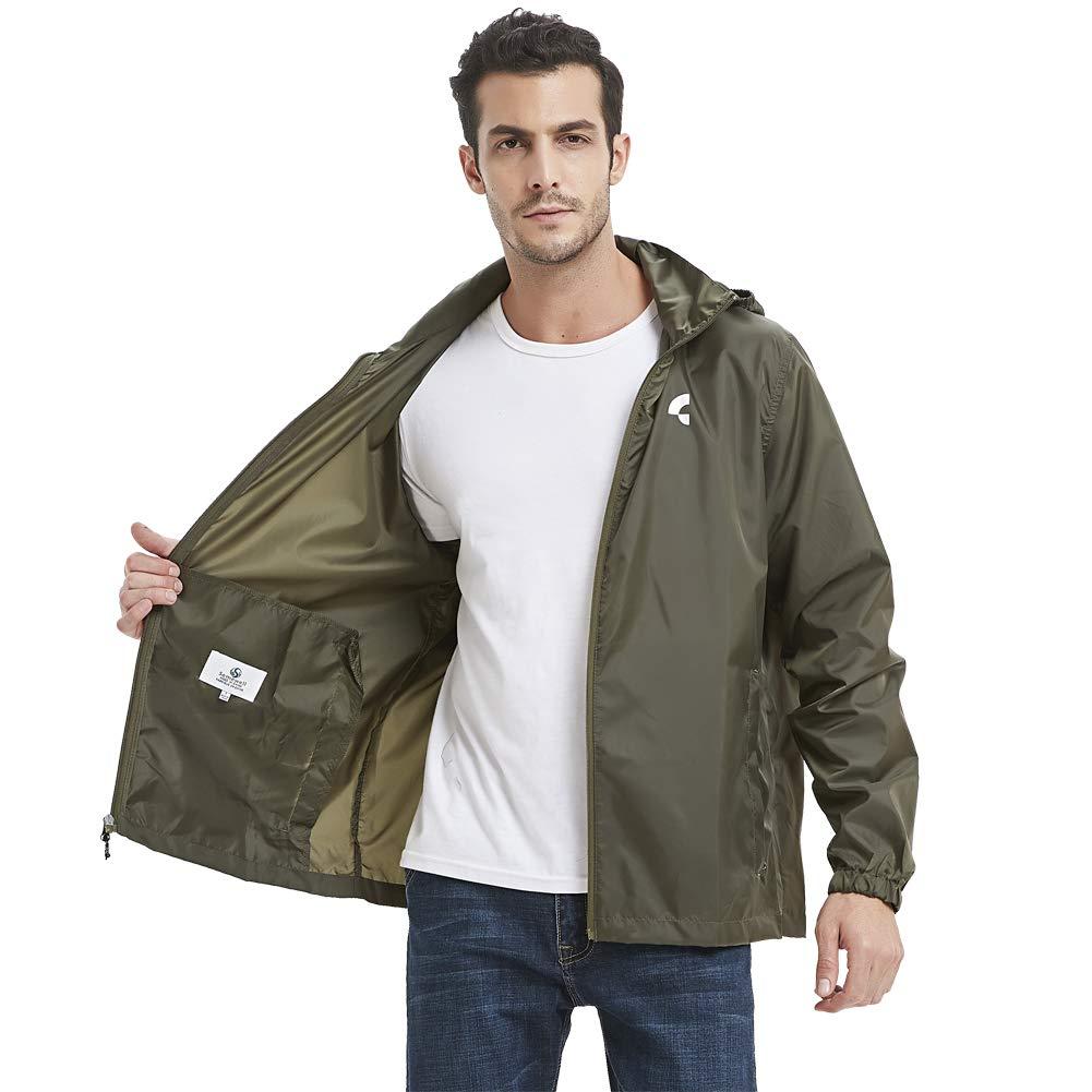 Somewell Men's Waterproof Hooded Rain Jacket, Windbreaker Lightweight Packable Zipper Raincoat with Pockets, Blackish Green S