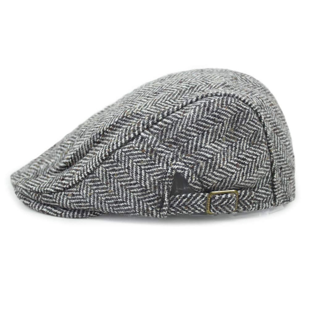YOYEAH Mens Warm Wool Tweed Blend Newsboy Flat Cap Ivy Cabbie Driving Winter Hat