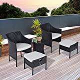 Outsunny 5PC Rattan Bistro Set Wicker Armchair Footstool Glass Top Coffee Table Combo Garden Patio Furniture w/Cushion - Brown