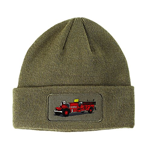 Antique Fire Truck Embroidery - Antique Fire Truck Embroidery Design Double Layer Acrylic Patch Beanie Olive Green