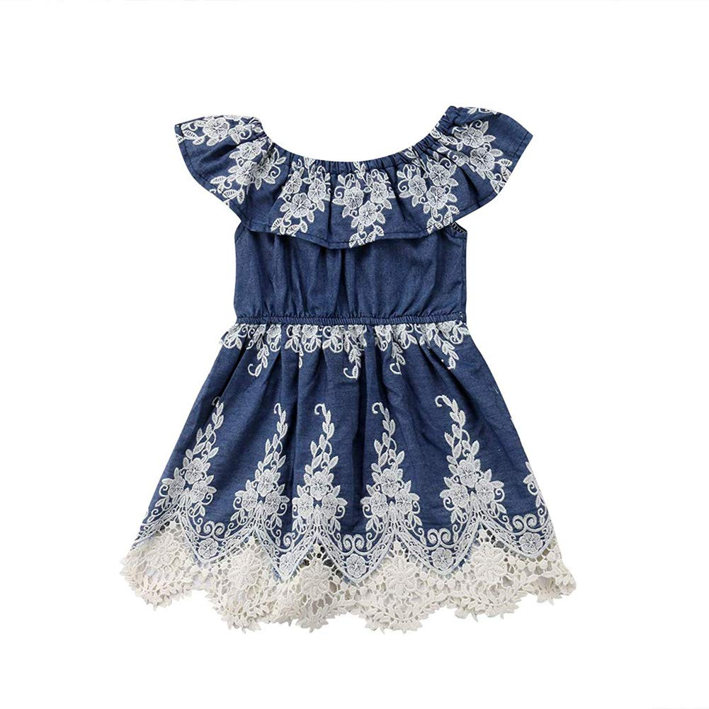 Toddler Girl Embroidery Dress Pageant Denim Off Shoulder Lace Floral Pleated Skirts Outfits