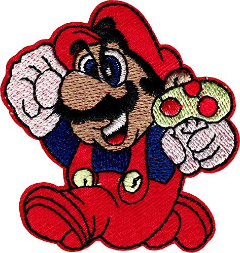 Super Mario Holding Mushroom - Iron Sew On Patch / Applique (80s Characters)