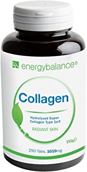 Collagen Tablets | Collagen Hydrolyzed Super Type 1&3 | 100% Puro Colágeno Proteína | Tipo 1 y Tipo 3 | Bajo Peso Molecular | Absorción Rapido | 250 ...
