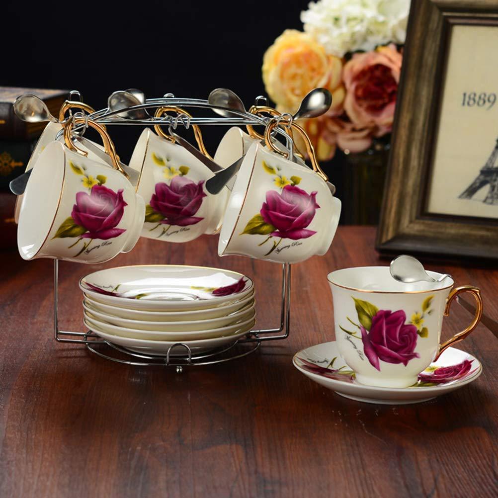 Soporte para Tazas de caf/é y Platos para 4 o 6 Tazas de Acero Inoxidable BESTONZON Plateado