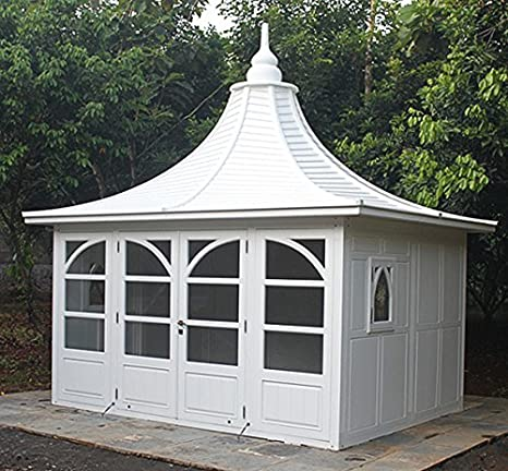 Jardín Casa Bothy Gazebo caoba madera hogar Caseta bloque casa color blanco: Amazon.es: Jardín