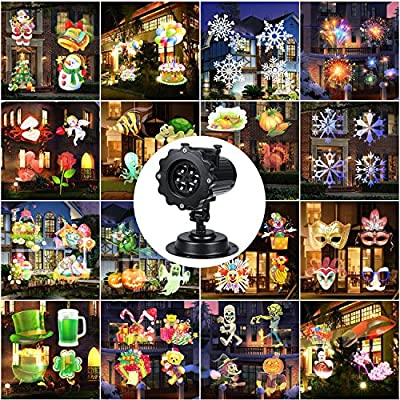 Led Projector Light Christmas Dynamic Lighting Landscape Waterproof 10W 16 Slides Motion Projection Light with Remote Control for Outdoor Indoor Halloween Xmas Party Holiday Decoration