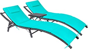 Devoko Patio Chaise Lounge Sets Outdoor Rattan Adjustable Back 3 Pieces Cushioned Patio Folding Chaise Lounge with Folding Table (Blue)