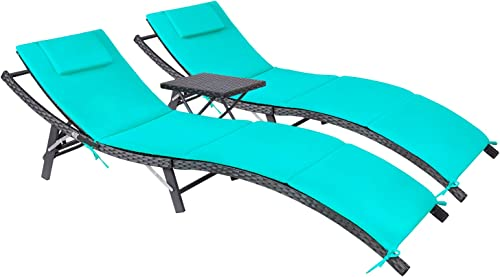Devoko Patio Chaise Lounge Sets Outdoor Rattan Adjustable Back 3 Pieces Cushioned Patio Folding Chaise Lounge with Folding Table Blue