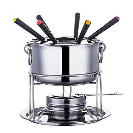 Dyda6 Fondue Pot Set 6 Color Coded Forks And Removable Pot