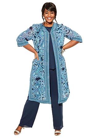 bede368f2f41d Amazon.com  Roamans Women s Plus Size Duster   Pant 3-Piece Set  Clothing