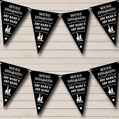 Vintage Text Engagement Black And White Engagement Bunting Party Banner