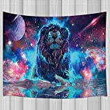 KOTOM Fantasy Decor Tapestry Universe Galaxy Lion Wall Art Hanging for Bedroom Living Room Dorm 71X60Inches Wall Blankets