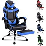 ALFORDSON Gaming Chair Racing Chair Executive Sport Office Chair with Footrest PU Leather Armrest Headrest Home Chair (Vogler Blue)