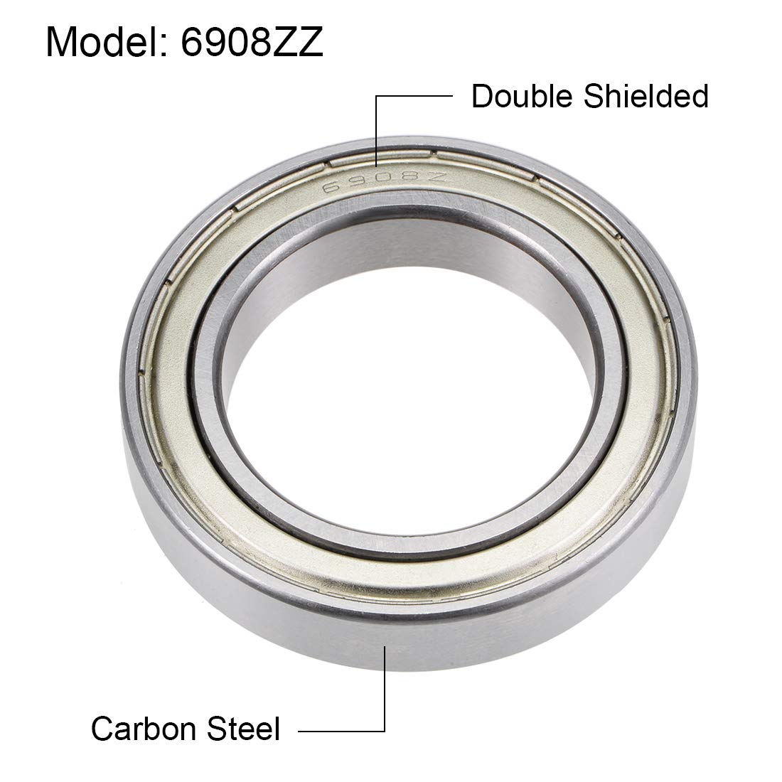 sourcing map 6908ZZ Deep Groove Ball Bearings Z2 40mm X 62mm X 12mm Double Shielded Carbon Steel 2pcs