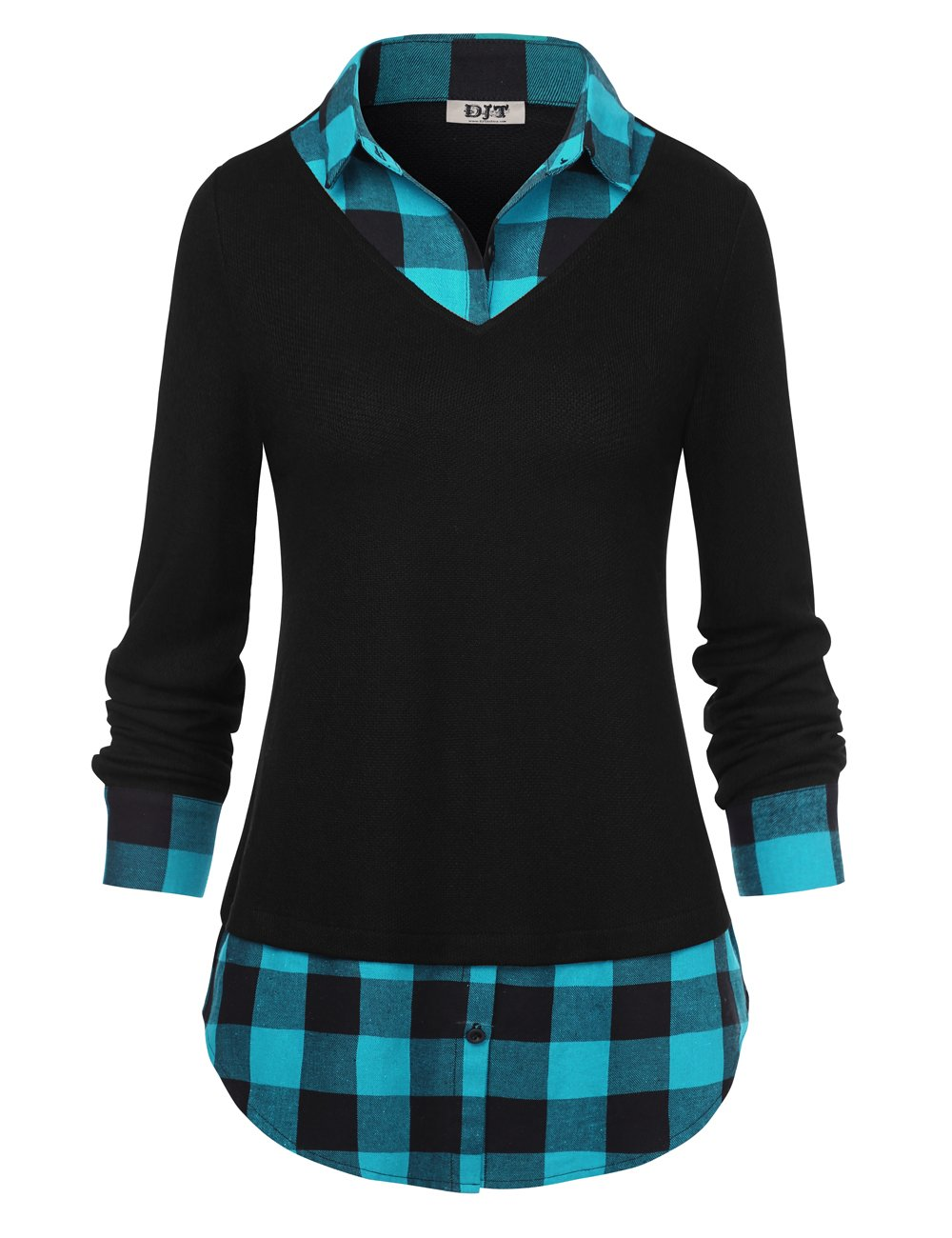DJT FASHION Women's Plaid Layered T-Shirt, Curved Hem Buttons Pullover Tops 3/4 Sleeve Sweatshirt T-Shirt Top M Blue Plaid